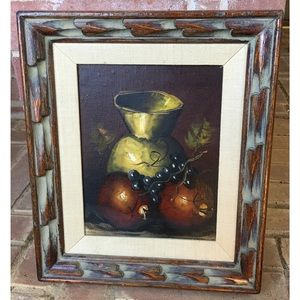 Carved Wood Frame Yellow Pot Still Life Painting